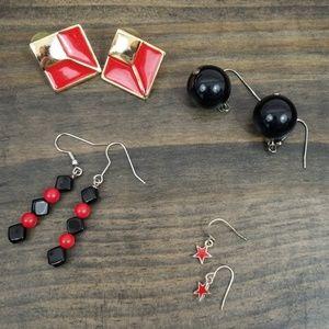 80's EARRING Bundle Red/Black